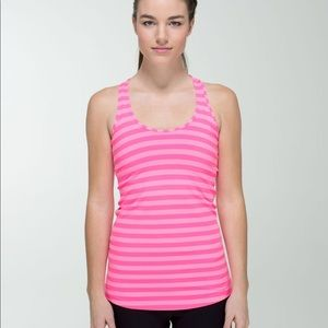 Apex Stripe Zing Pink Cool Racerback, size 4, EUC
